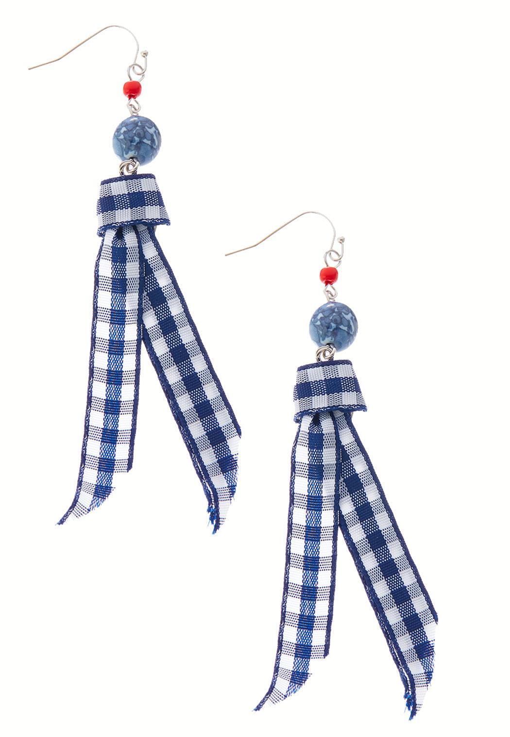 Gingham Ribbon Earrings