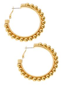 Gold Ball Hoop Earrings