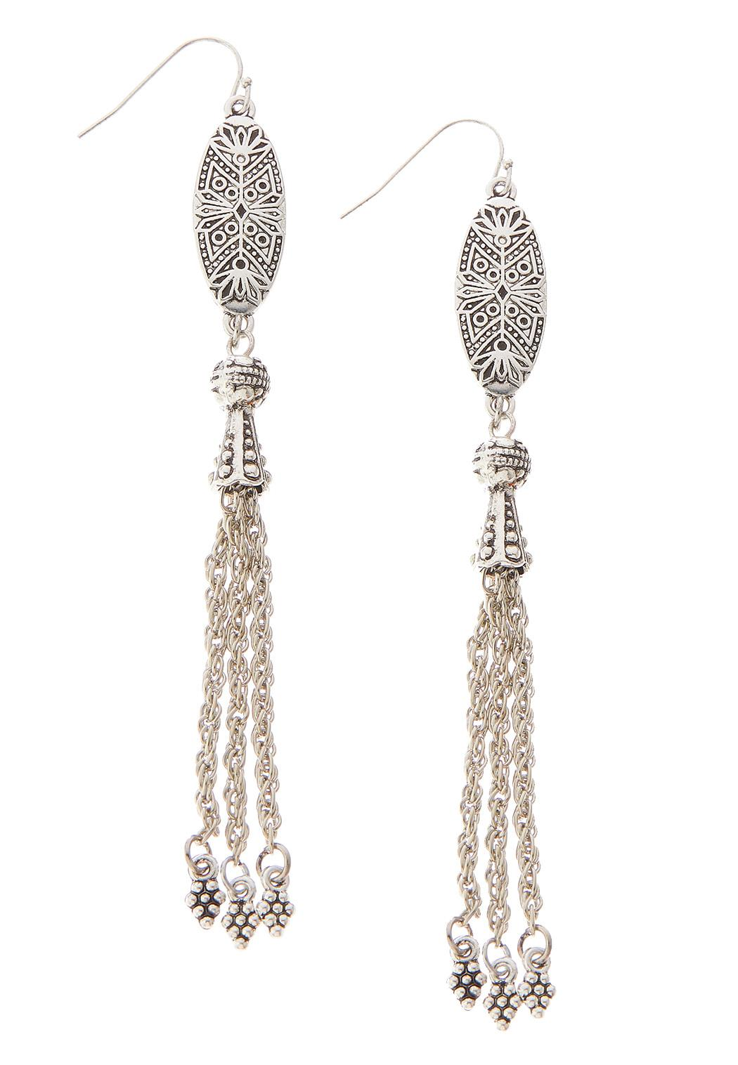 Linear Bead Shaky Silver Earrings