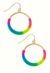 Neon Rainbow Thread Hoop Earrings