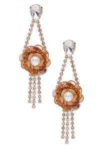 Pearl Flower Rhinestone Earrings