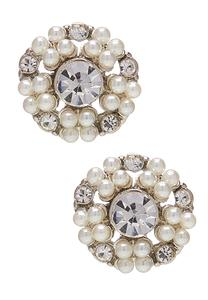 Pearl Stone Button Earrings