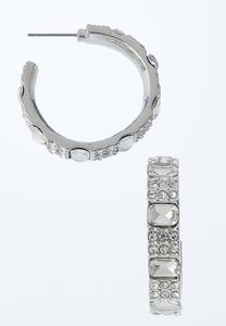 Rhinestone Inset Chunky Hoop Earrings