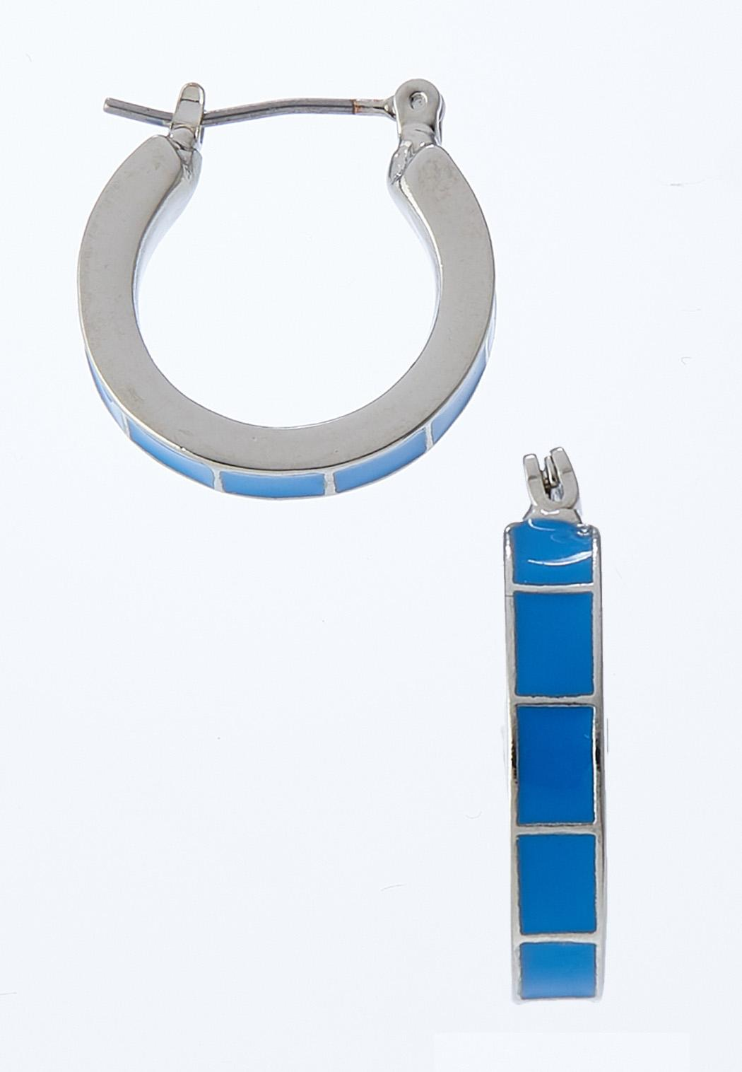 Enamel Block Hoop Earrings