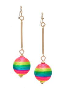 Rainbow Thread Wrapped Earrings