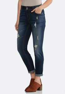 Petite Distressed Ankle Jeans