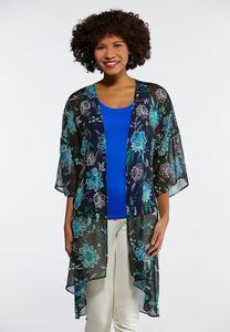 01da39b84c3d9 Plus Size Floral Puff Print Kimono