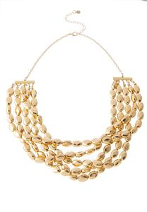 Gold Layered Bib Necklace