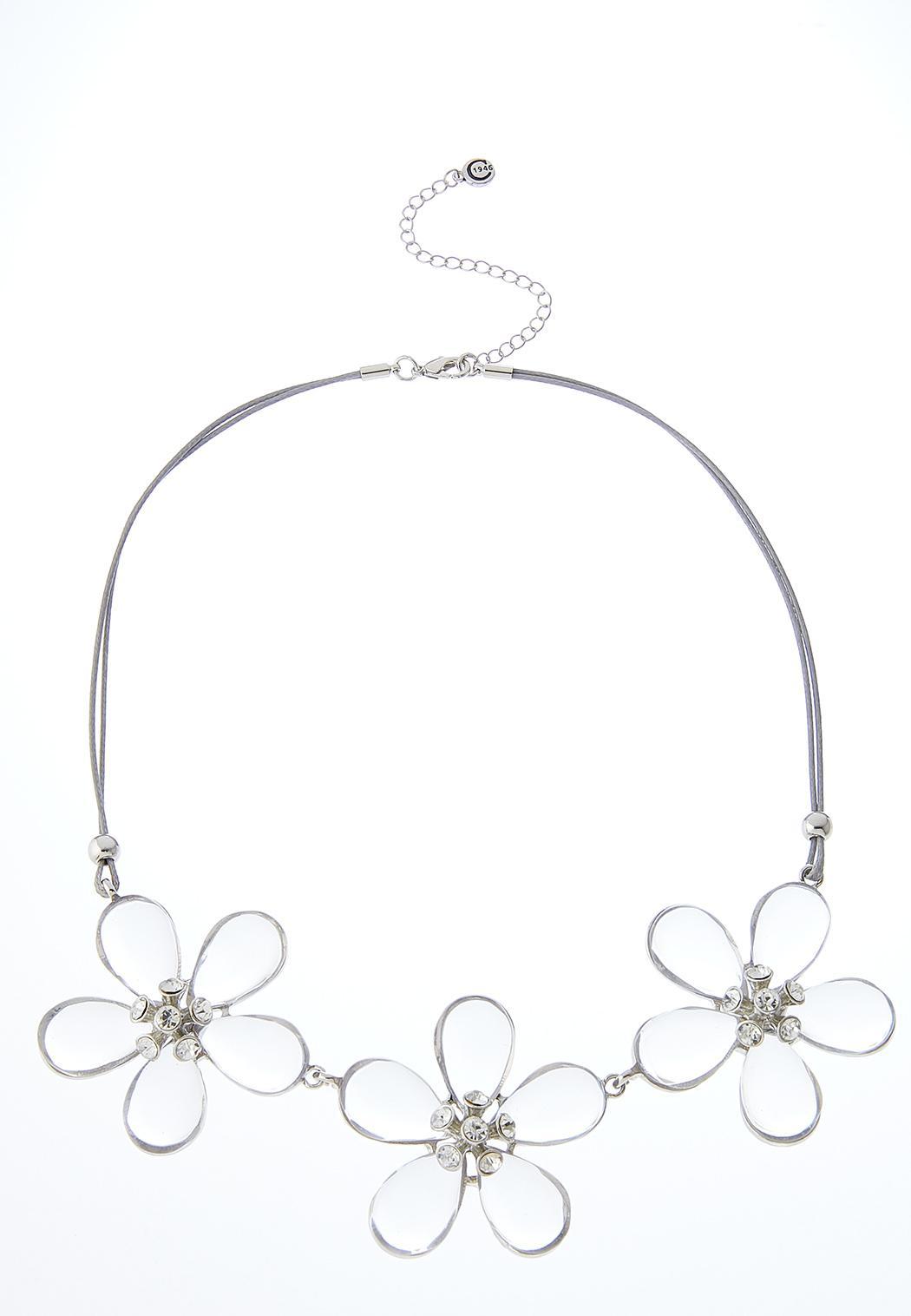 Triple Flower Cord Necklace