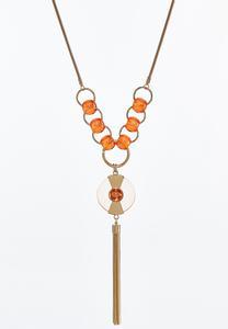 Snake Chain Disc Tassel Necklace