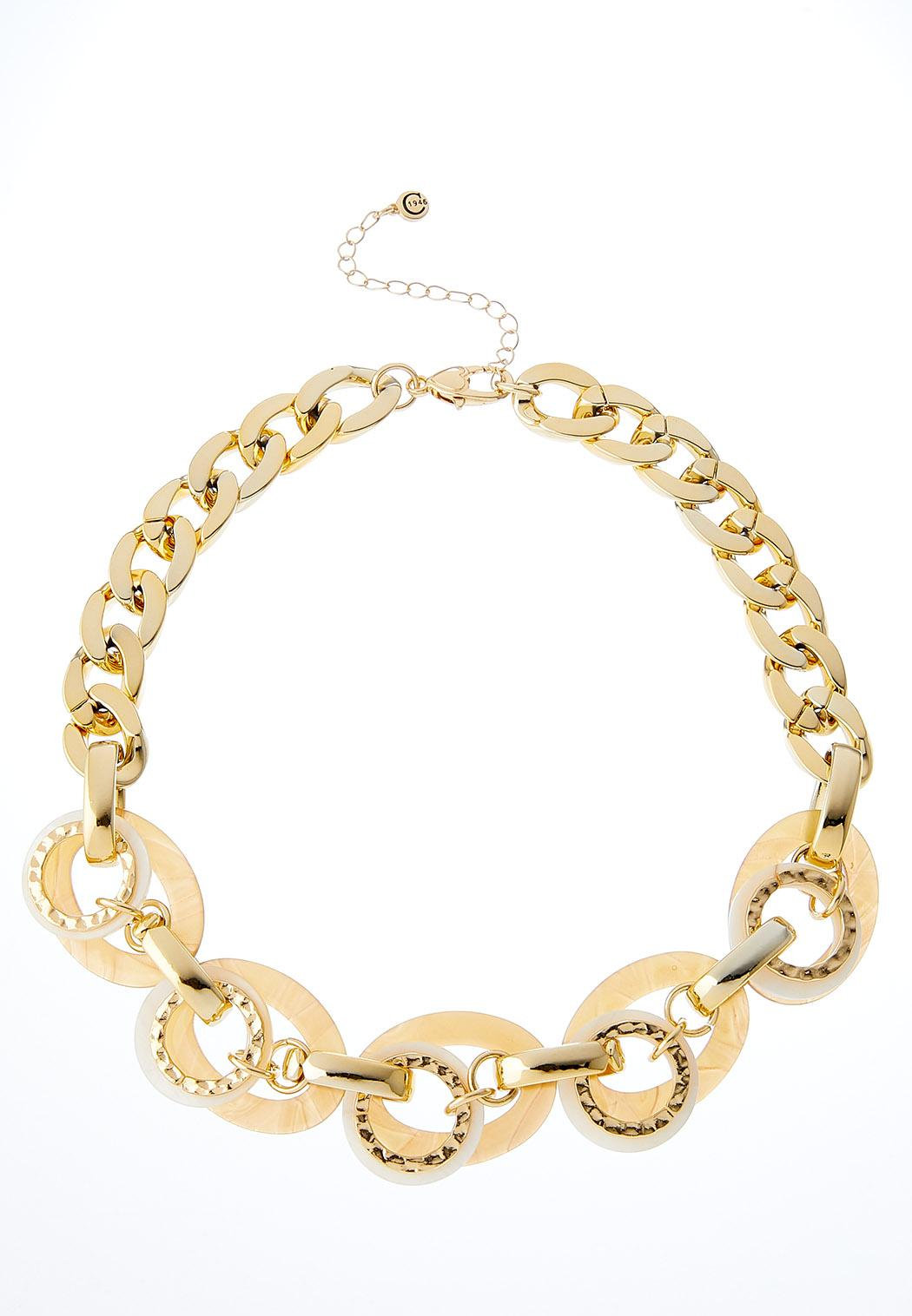 Chain Link Metal Lucite Ring Necklace