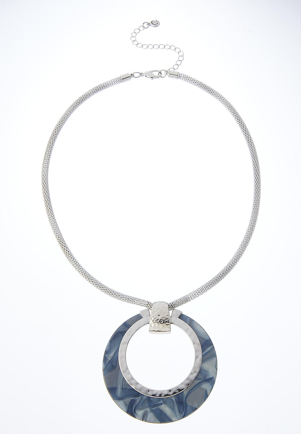 Snake Chain Marbleized Pendant Necklace