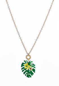 Floral Palm Leaf Pendant Necklace