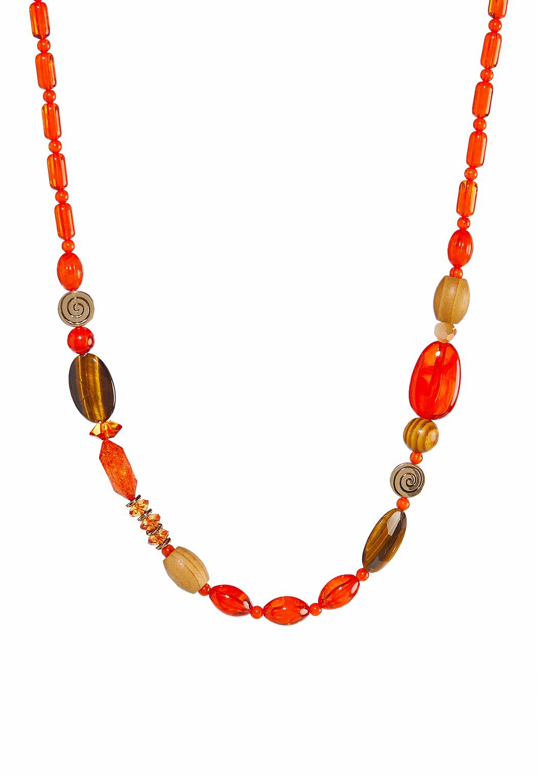 Orange Multi Long Bead Necklace
