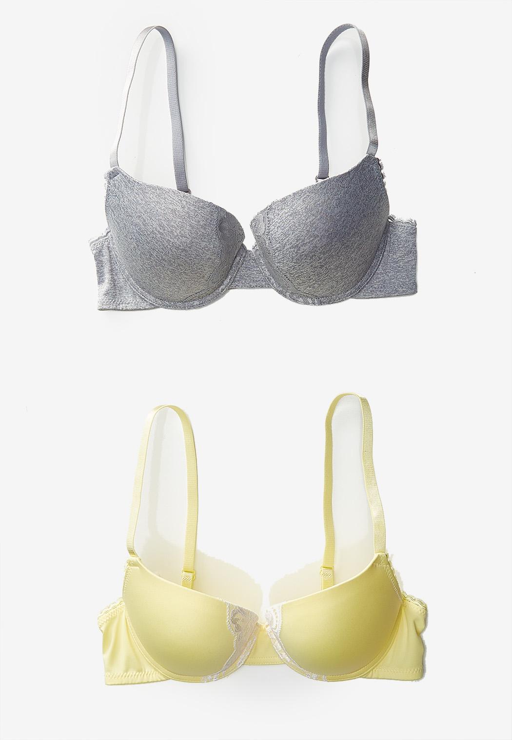 Yellow Gray Lace Trim Bra Set