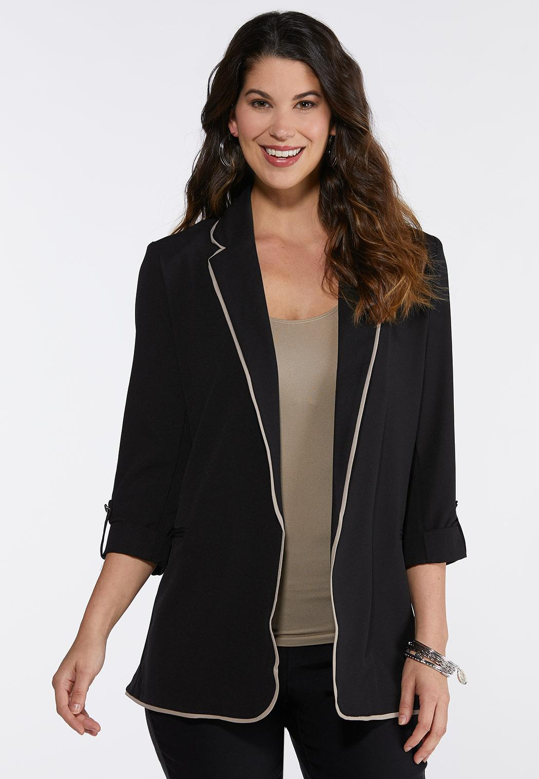 Contrast Piping Solid Blazer