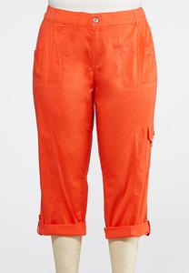 Plus Size Cropped Roll Tab Cargo Pants