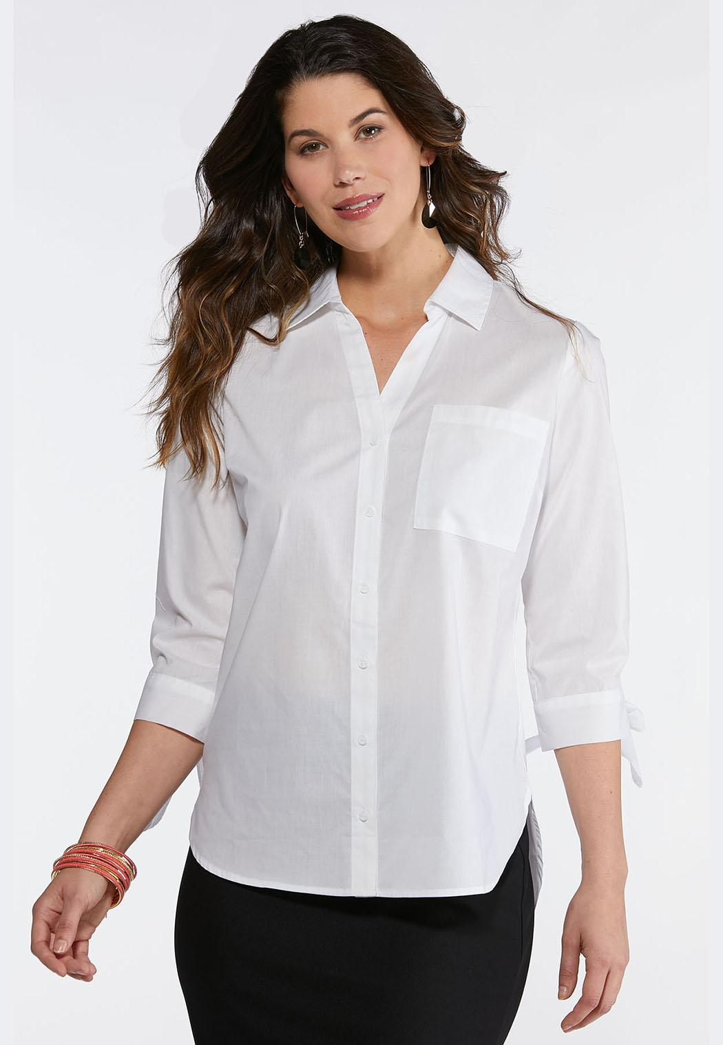 25a169213ce05 Plus Size Tie Sleeve Poplin Shirt Tops Cato Fashions
