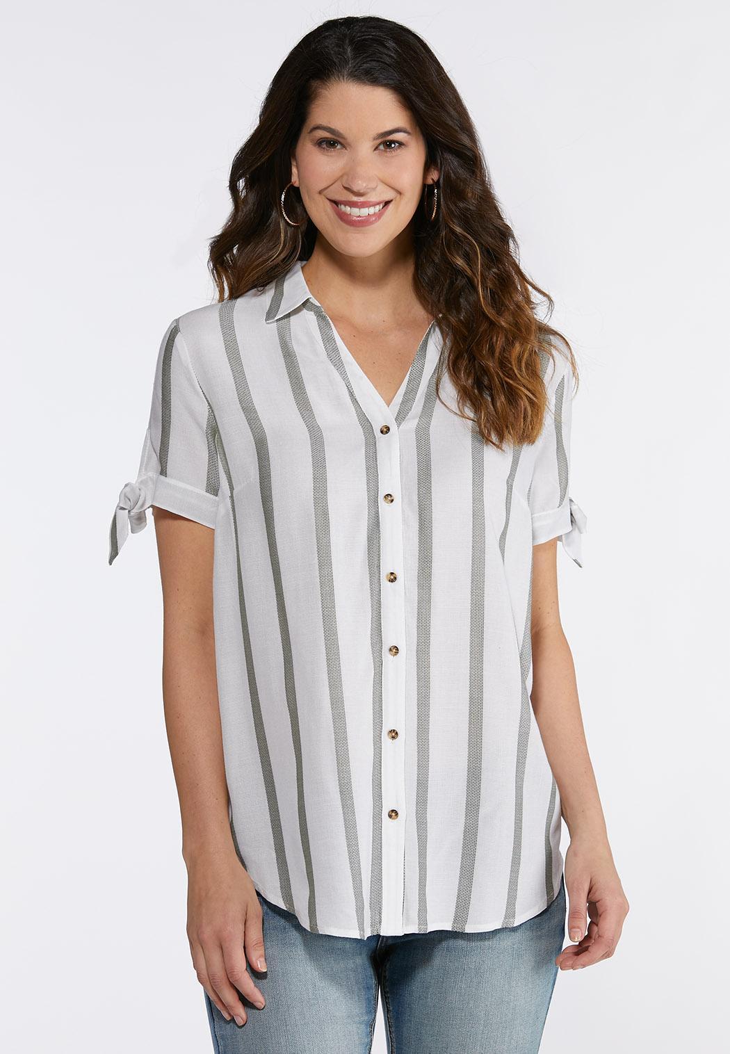 Plus Size Stripe Tie Sleeve Shirt