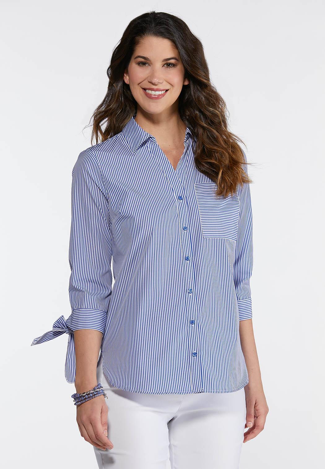 Plus Size Stripe Poplin Shirt Shirts & Blouses Cato Fashions