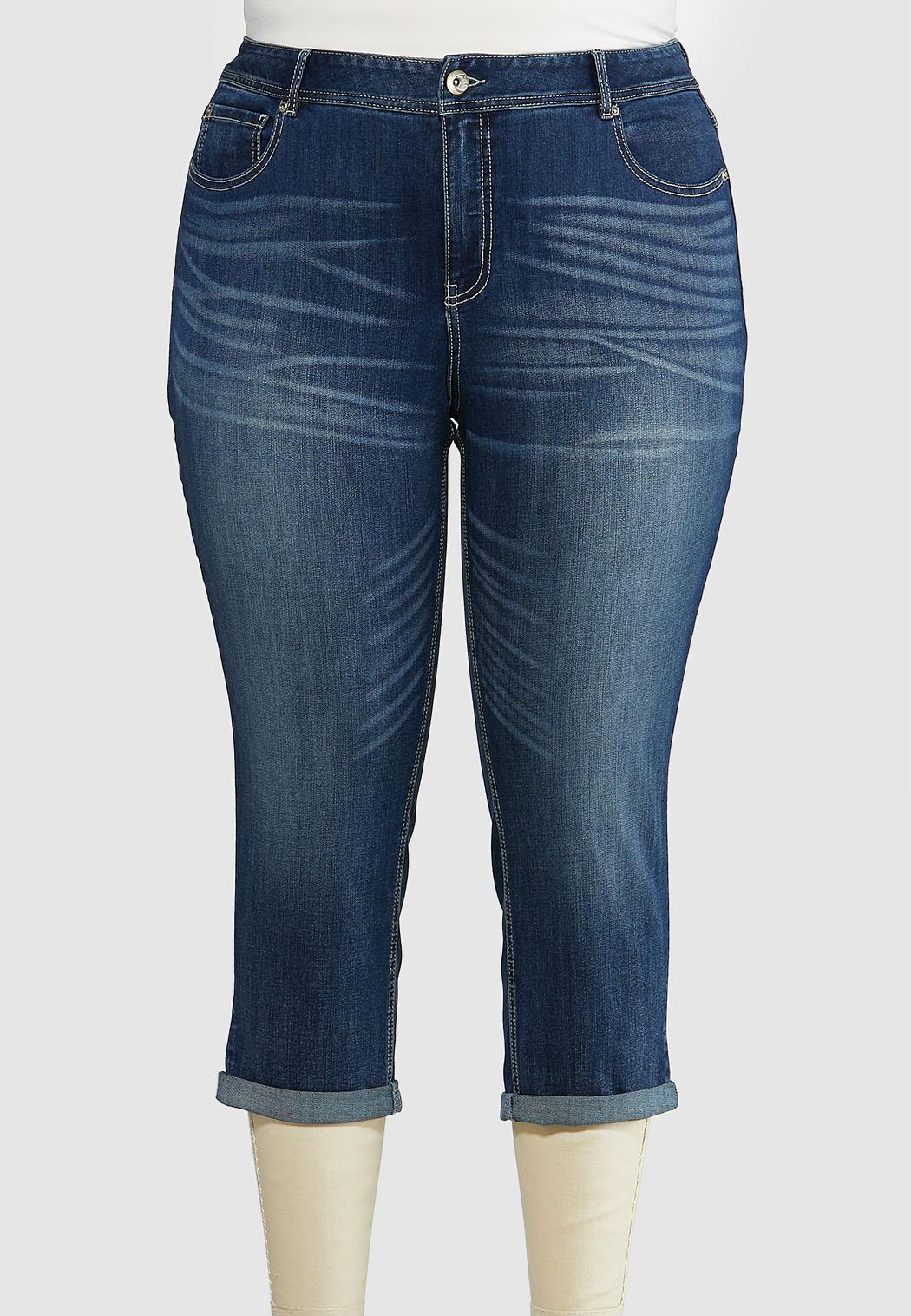 Plus Size Cropped Girlfriend Jeans