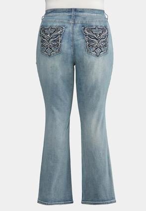 Plus Size Embroidered Wing Jeans