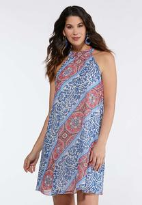 Pleated Paisley Swing Dress