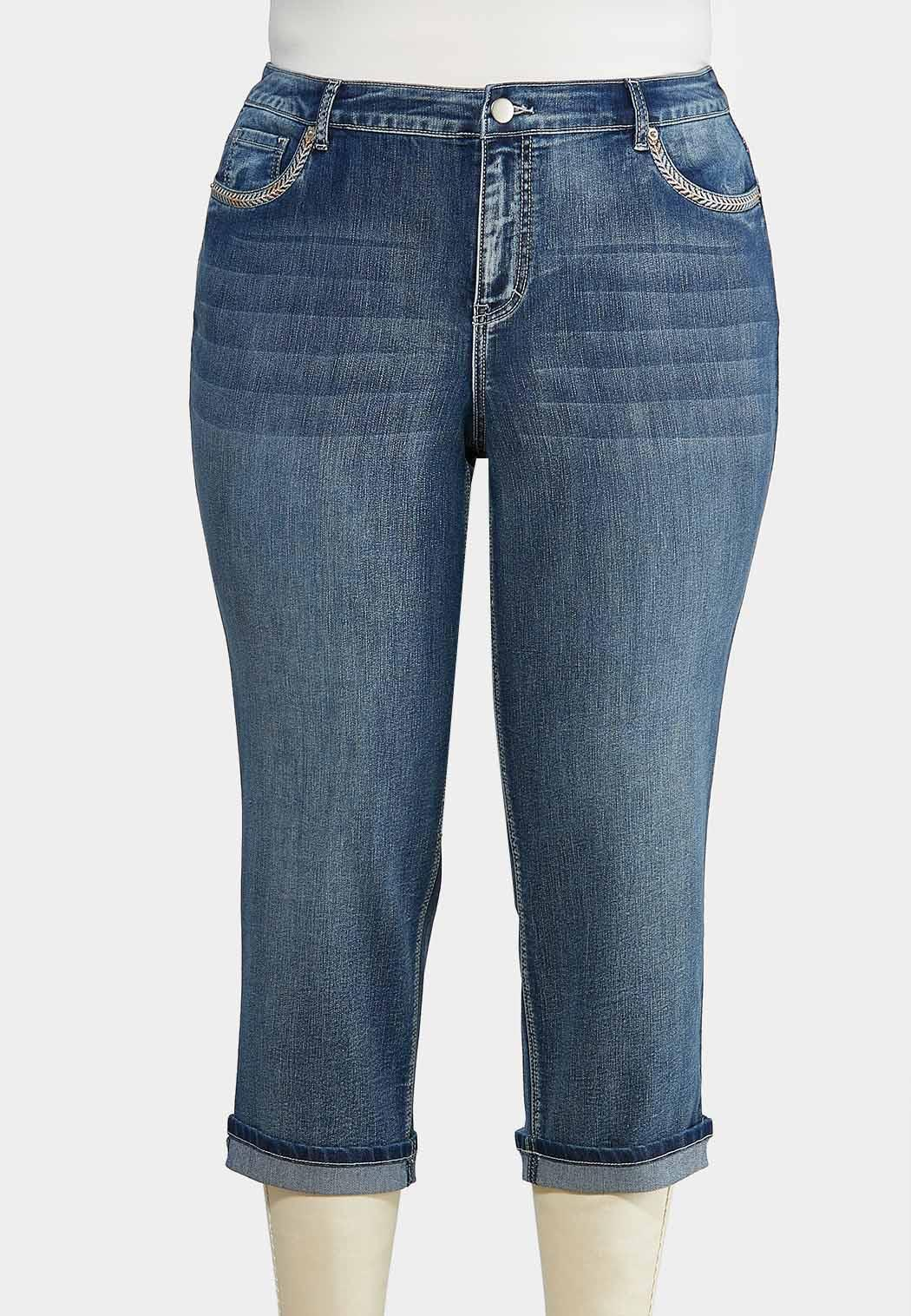 Plus Size Cropped Embroidered Jeans