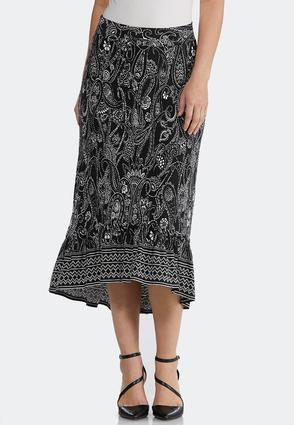 Puff Paisley High- Low Skirt