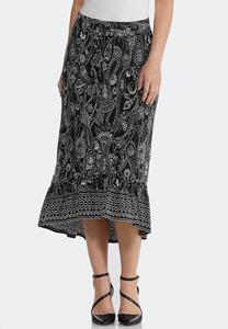 Puff Paisley High-Low Skirt
