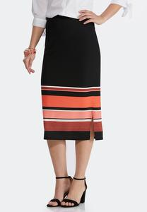 Textured Stripe Pencil Skirt