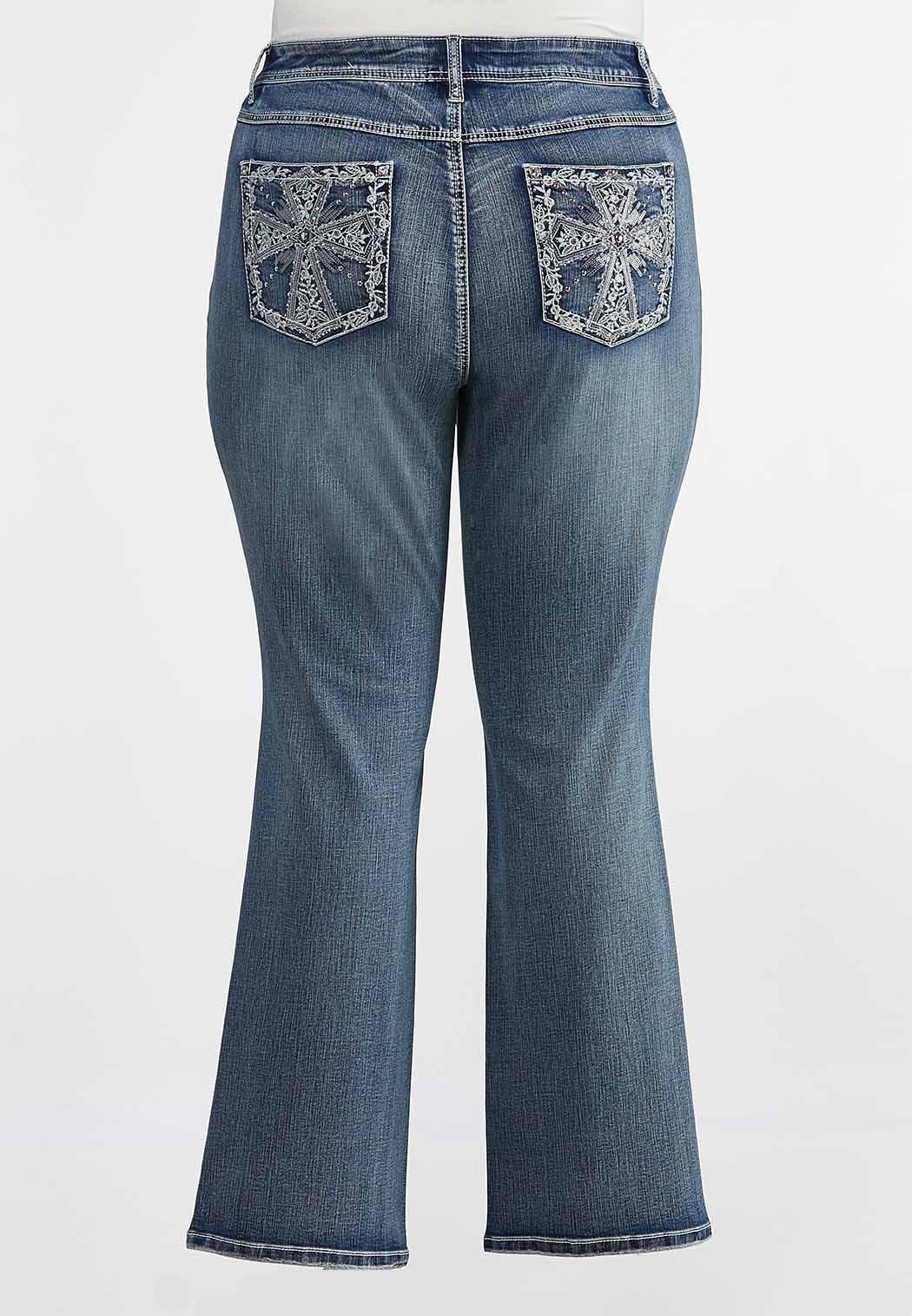 Plus Size Cross Pocket Jeans