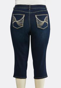 Plus Size Cropped Heavy Stitch Jeans