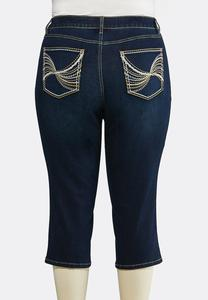 Plus Size Cropped Heavy Stitch Jeans