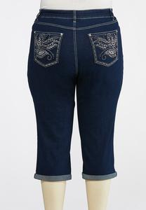 Plus Size Cropped Mirrored Stud Jeans
