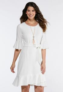 Flounced Tie Waist Dress