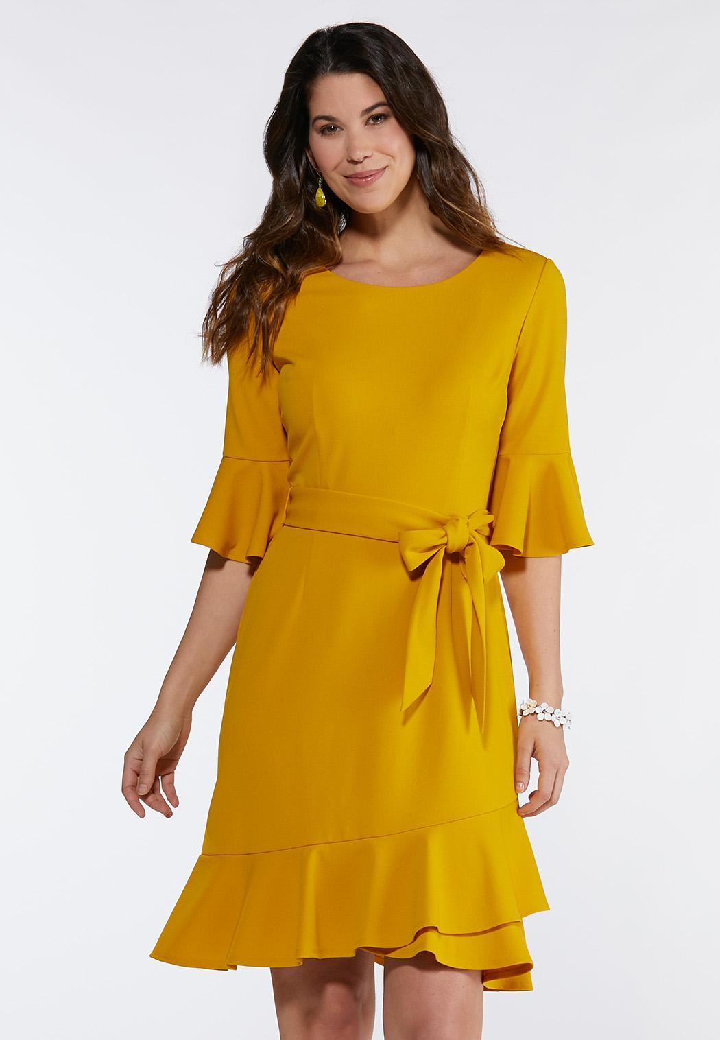 Plus Size Flounced Tie Waist Dress