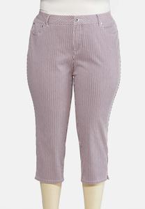 Plus Size Cropped Patriotic Striped Jeans