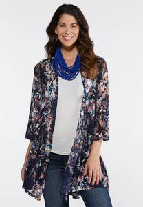 Plus Size Floral Mesh Kimono