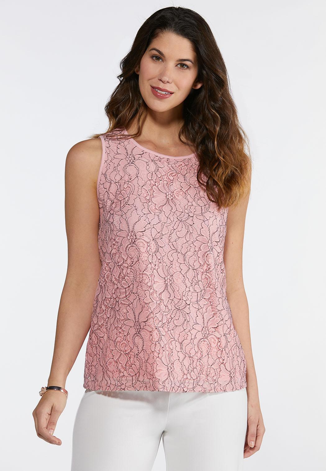 Plus Size Pink Lace Tank