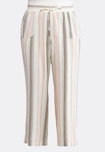 Plus Size Muted Stripe Linen Pants