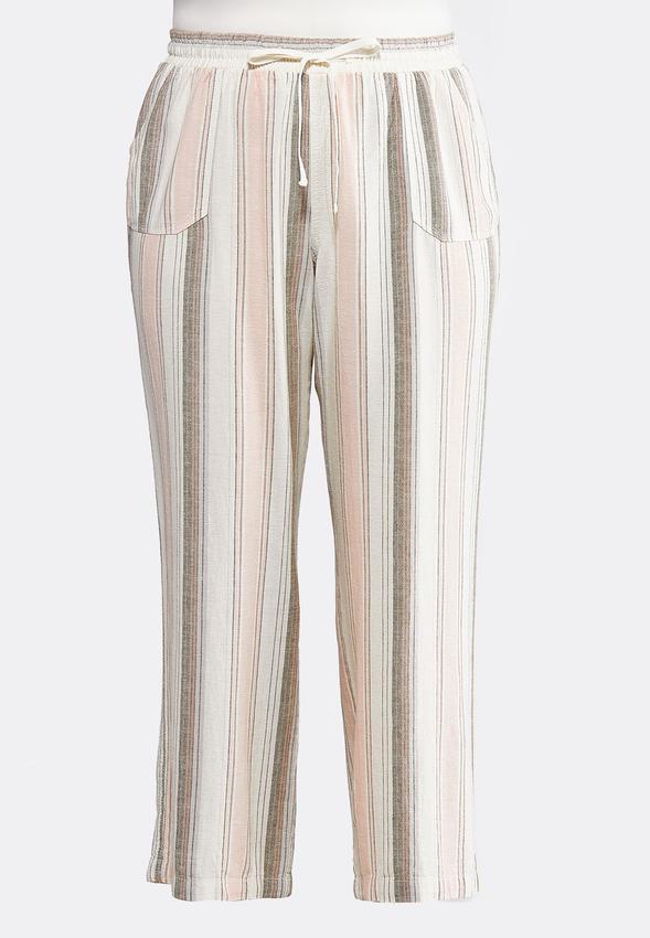 Plus Size Muted Stripe Linen Pants Pants Cato Fashions