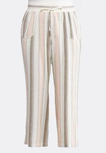 Plus Size Muted Stripe Linen Pants