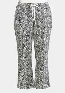 Plus Size Printed Linen Pants