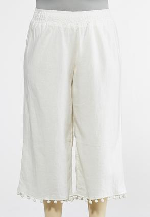 Plus Size Cropped Pom Pom Linen Pants