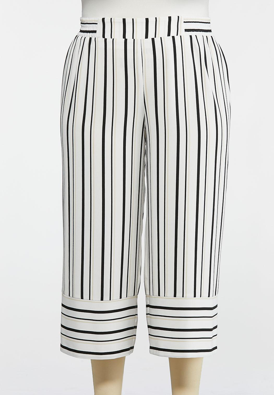 Plus Size Striped Wide Leg Cropped Pants