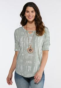 Lace Sleeve Tie Dye Top