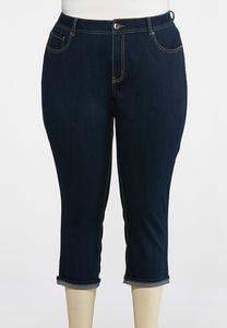 Plus Size Cropped Turn Up Jeans