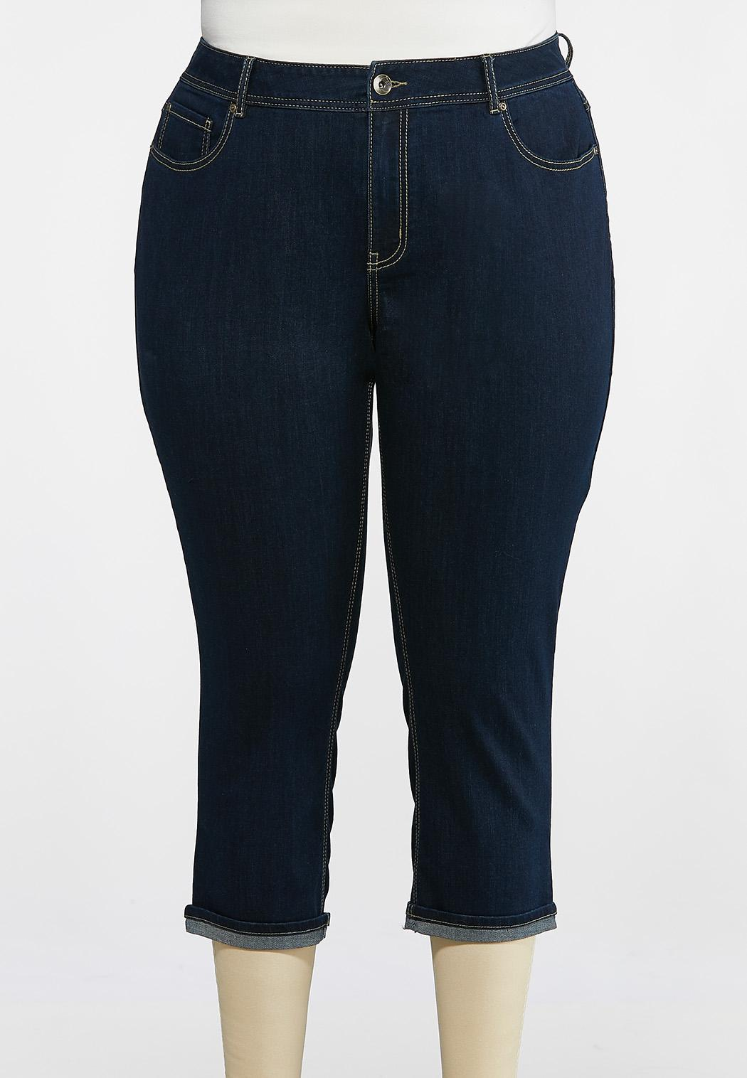 Plus Extended Cropped Turn Up Jeans