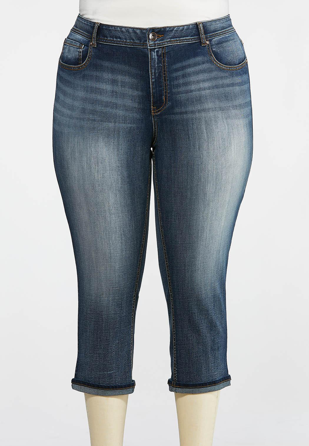 Plus Size Cropped Rinse Wash Jeans